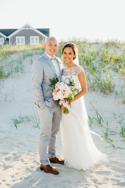 bride and groom at the Wild Horse Sarah D'Ambra Photography Carova 4x4 beach wedding