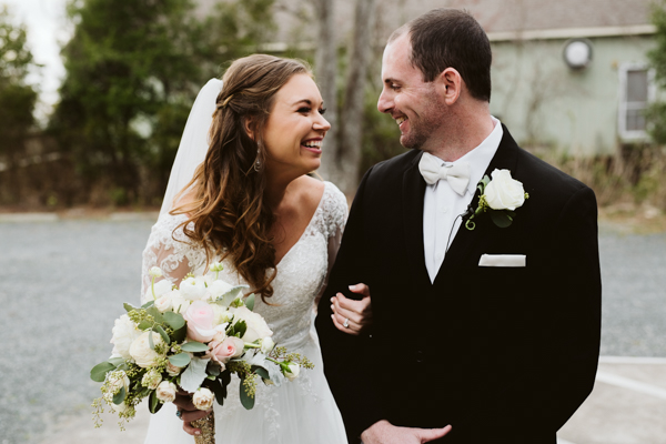 happy outer banks wedding couple post ceremony
